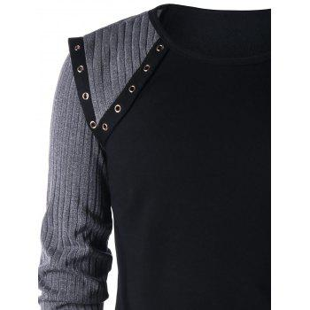 Grommet Ribbed Knit Panel Long Sleeve T-shirt - BLACK M
