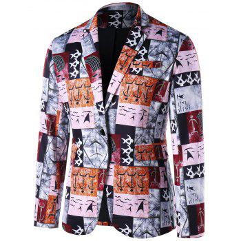 Ancient Words Printed Single Button Blazer - COLORMIX 2XL