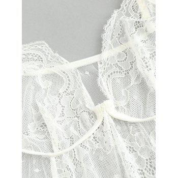 Lingerie See-through Lace High Cut Teddy - WHITE M
