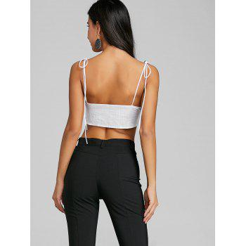 Tie Up Spaghetti Strap Crop Top - WHITE XL