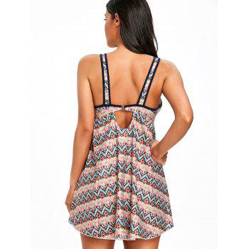 Chevron Printed Wide Straps Tankini - COLORMIX XL