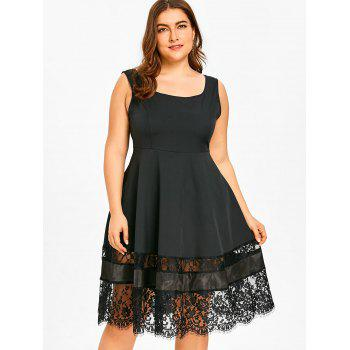 Lace Panel Plus Size High Waist Dress - BLACK 2XL