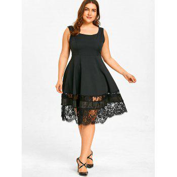 Lace Panel Plus Size High Waist Dress - BLACK 3XL