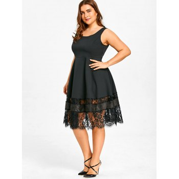 Lace Panel Plus Size High Waist Dress - BLACK 4XL
