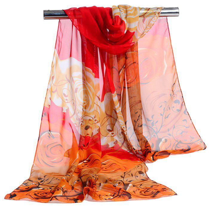 Romantic Rose Printed Silky Long Scarf - RED