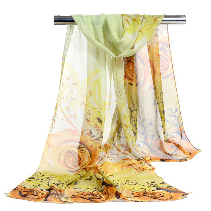 Romantic Rose Printed Silky Long Scarf - YELLOW