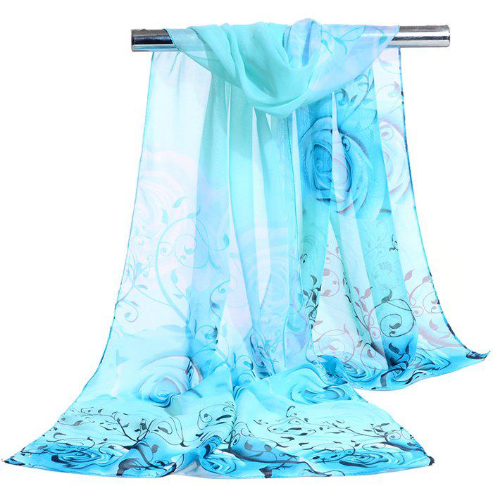 Romantic Rose Printed Silky Long Scarf - AZURE