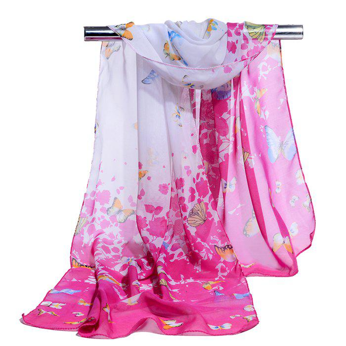 Flying Butterfly Pattern Silky Scarf - TUTTI FRUTTI