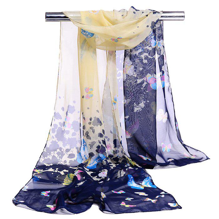 Flying Butterfly Pattern Silky Scarf - CADETBLUE