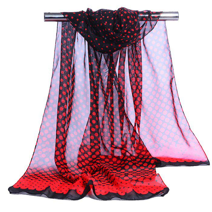 Vintage Polka Dot Pattern Long Chiffon Scarf - RED
