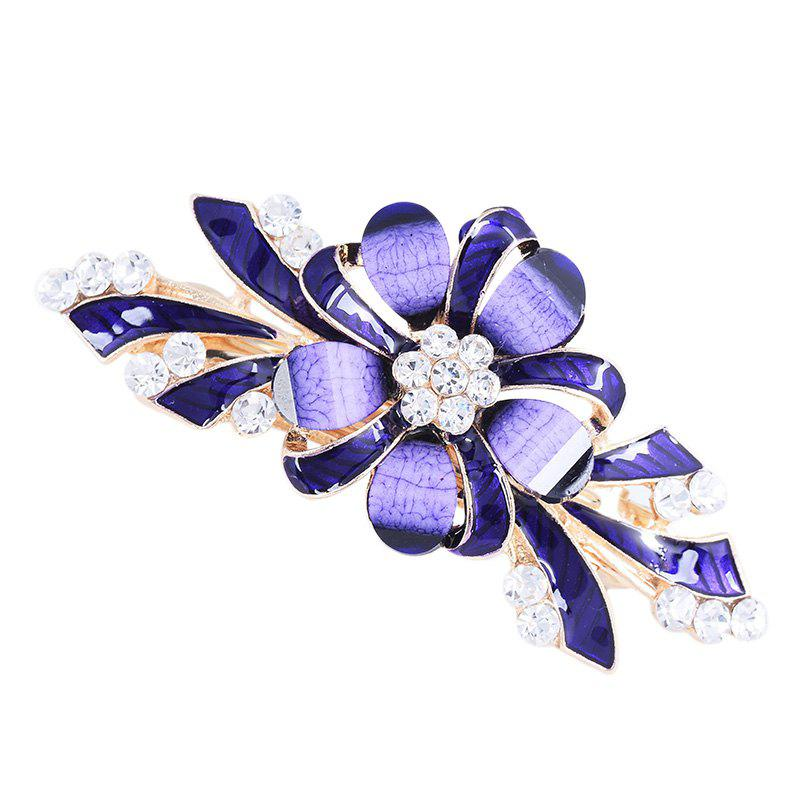 Rhinestone Inlay Floral Decorative Hair Clip - PURPLE