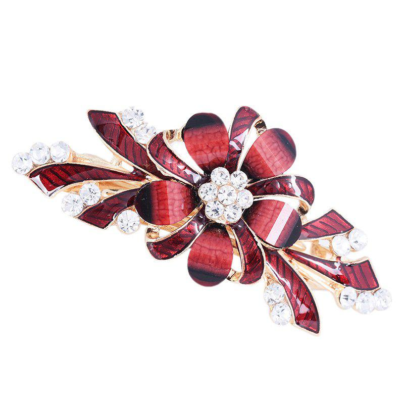 Rhinestone Inlay Floral Decorative Hair Clip - RED