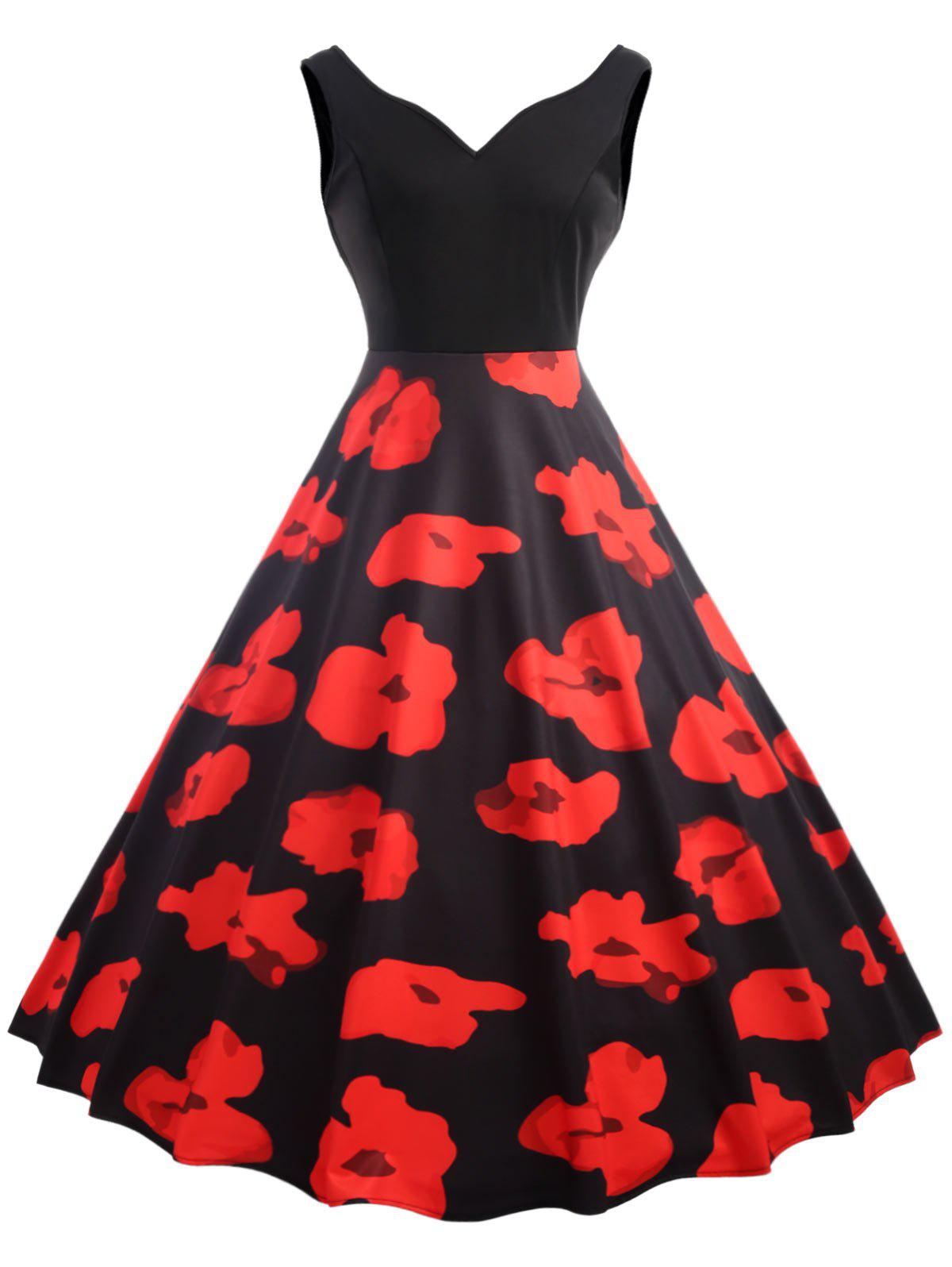 Retro Floral Fit and Flare Party Dress sleeveless floral print fit and flare dress