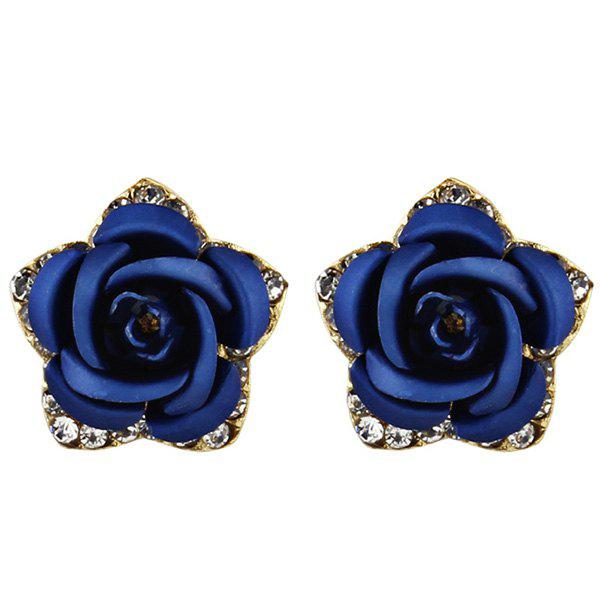 Rhinestone Rose Flower Stud Tiny Earrings - BLUE