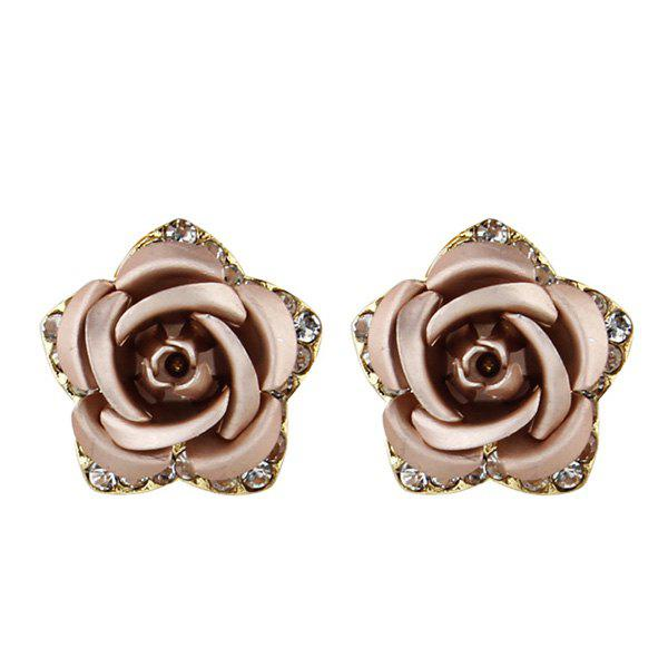 Rhinestone Rose Flower Stud Tiny Earrings tiny rose embellished floral rhinestone barrette