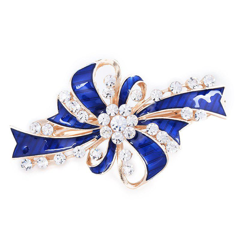 Rhinestone Inlay Bowknot Decorated Hair Clip - BLUE