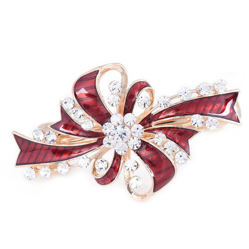 Rhinestone Inlay Bowknot Decorated Hair Clip - RED