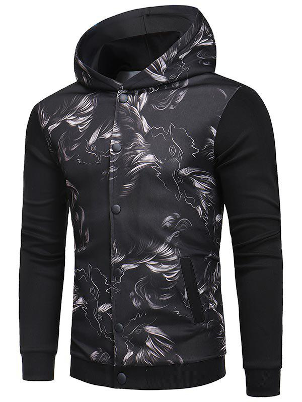 Abstract Print Buttoned Hooded Jacket