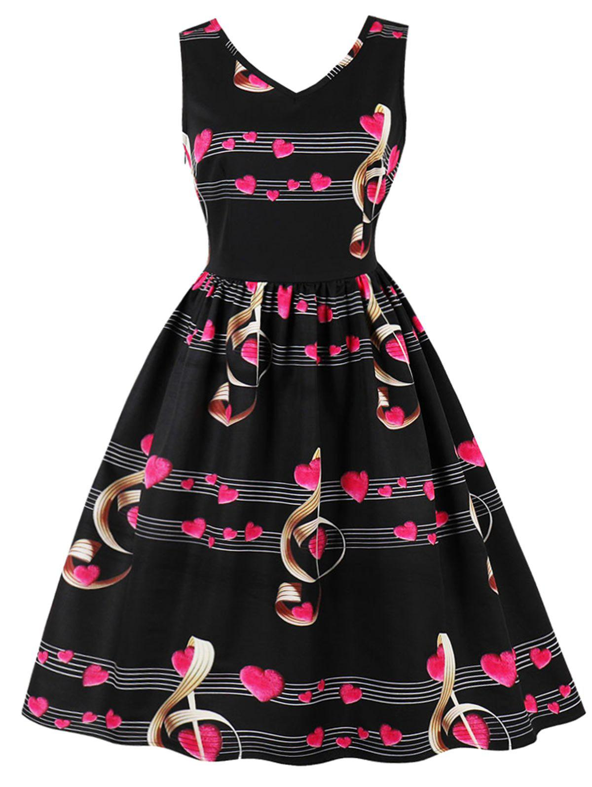 Plus Size Heart Music Note Print Dress music note party swing dress