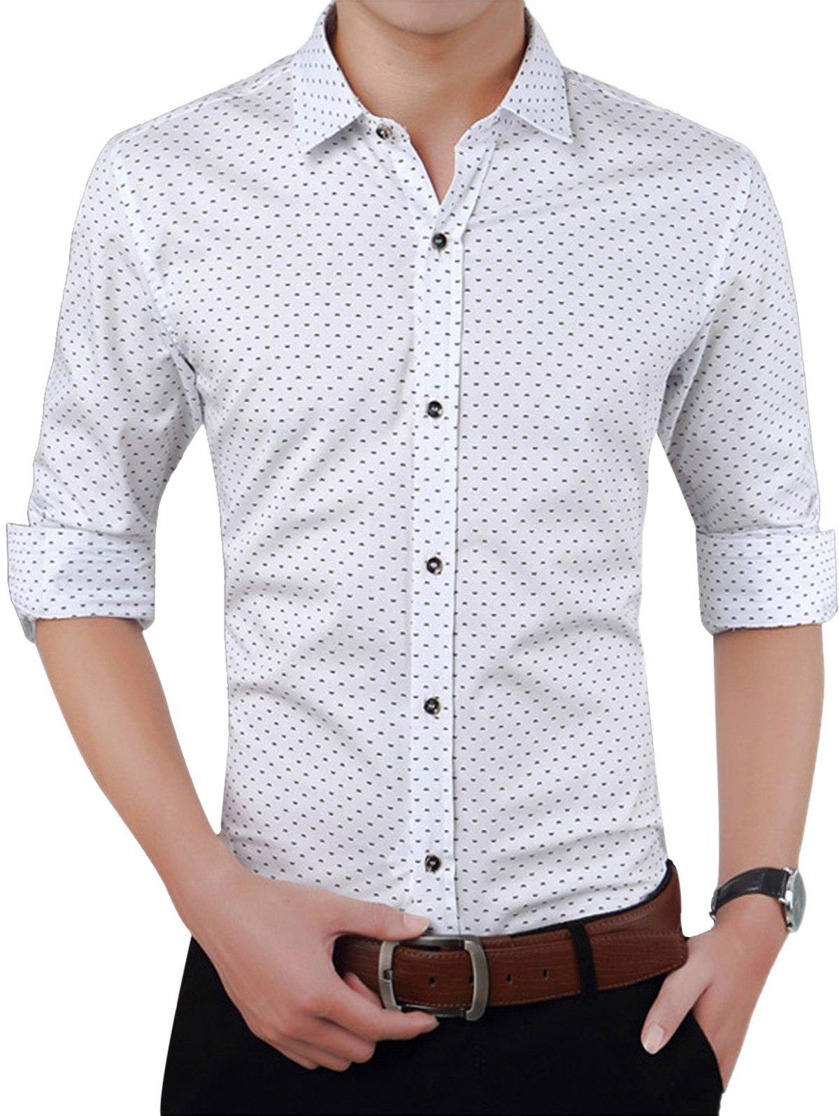 Turndown Collar W Pattern Printed Shirt - WHITE 2XL