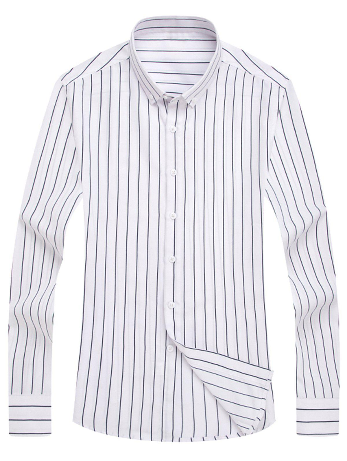 2018 Classic Pinstripe Printed Button Down Shirt WHITE XL In ...