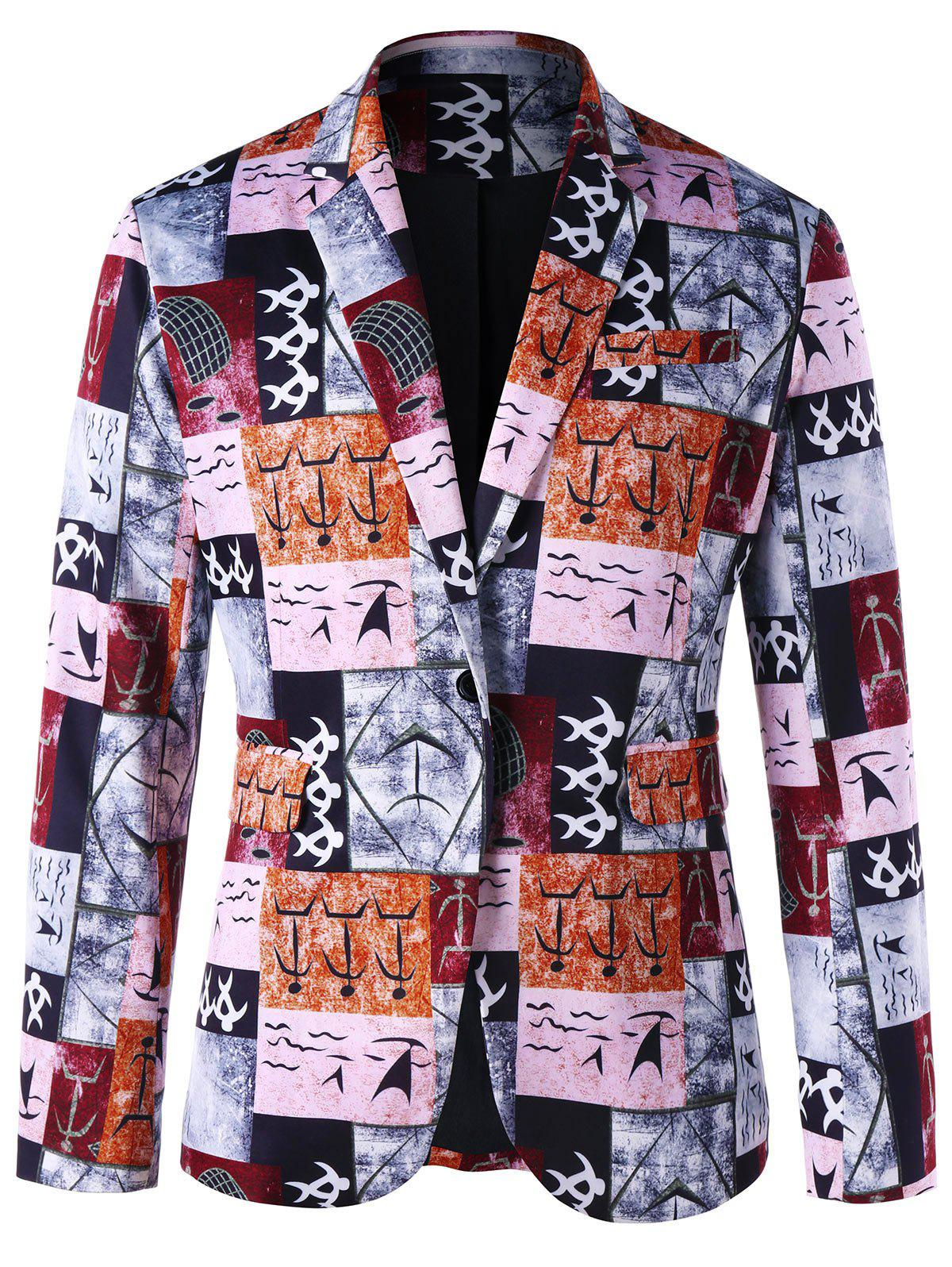 Ancient Words Printed Single Button Blazer - COLORMIX XL