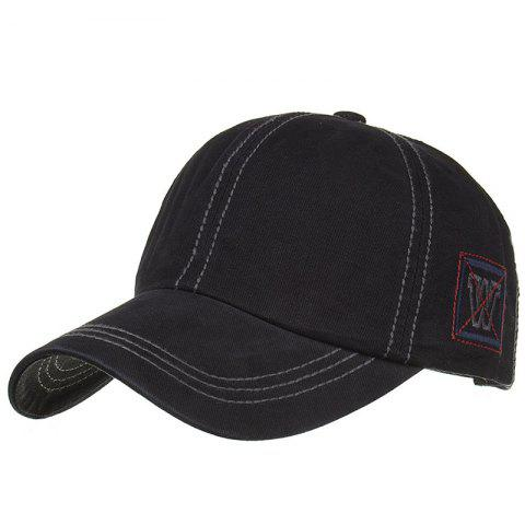 Unique W Embroidery Adjustable Sunscreen Hat - BLACK
