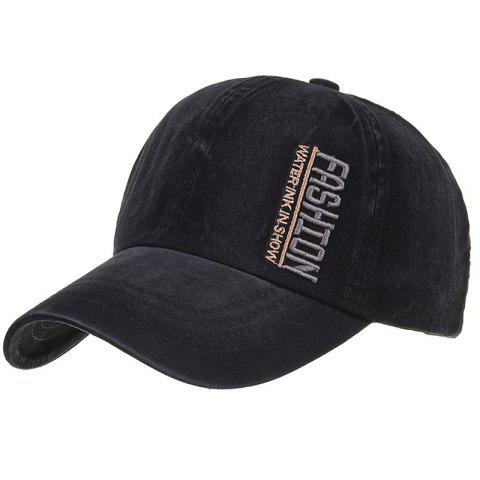 FASHION Embroidery Adjustable Sunscreen Hat - BLACK