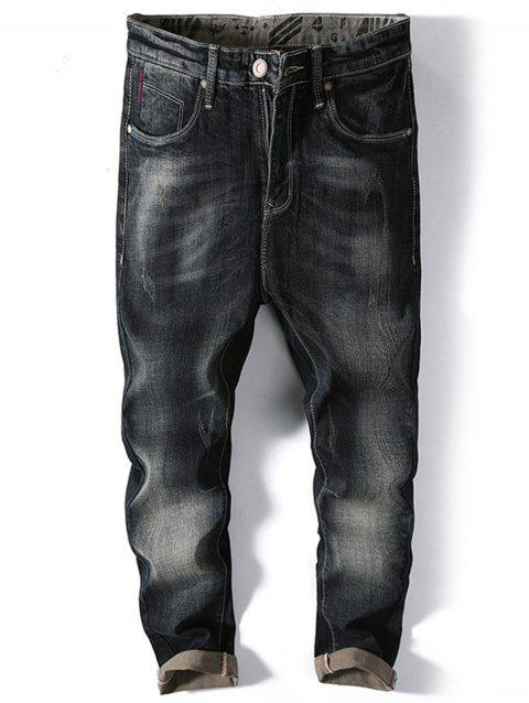 Slim Fit Casual Faded Jeans - BLACK 34