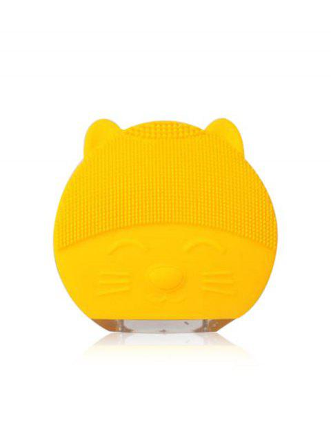 Mini Portable Ultrasonic Silicone Facial Cleanser Device - YELLOW