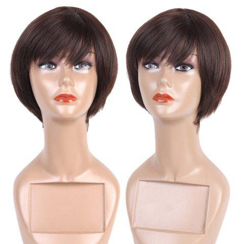 Short Side Fringe Straight Bob Synthetic Fiber Wig - BROWN
