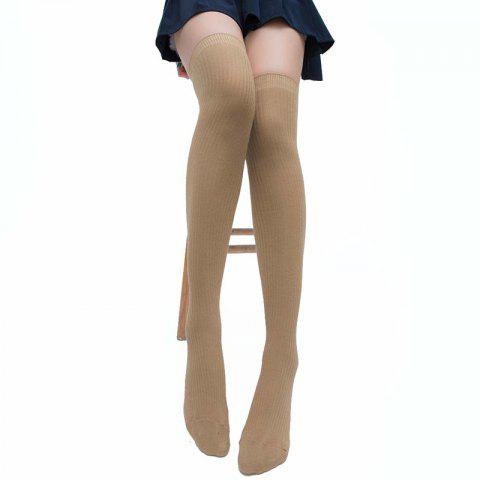 Simple Striped Pattern Thigh High Socks - KHAKI