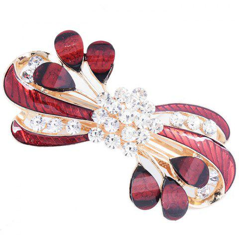 Rhinestone Leaves Decorated Hair Clip - RED