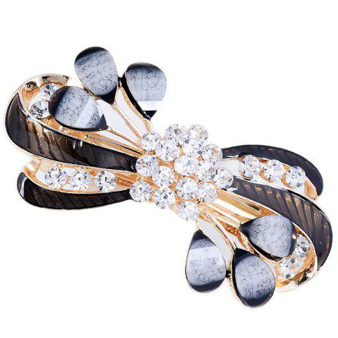 Rhinestone Leaves Decorated Hair Clip - BLACK