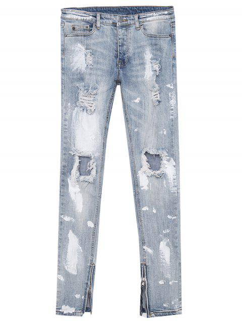 Zipper Narrow Feet Paint Ripped Jeans - DENIM BLUE 2XL