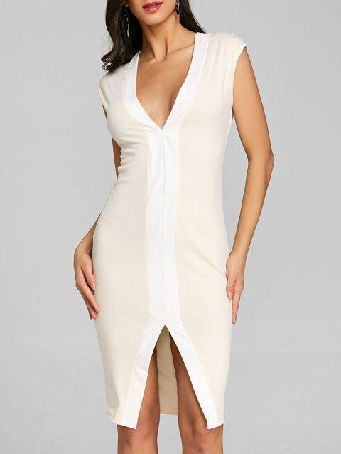 Two Tone Slit Bodycon Dress - APRICOT S