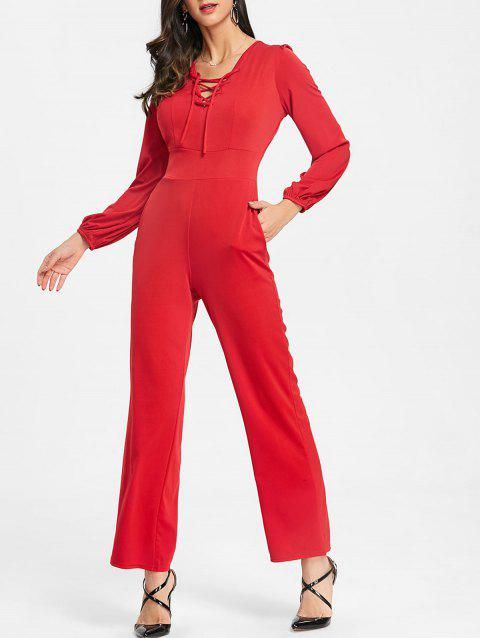 Lace Up Plunging Jumpsuit - RED L