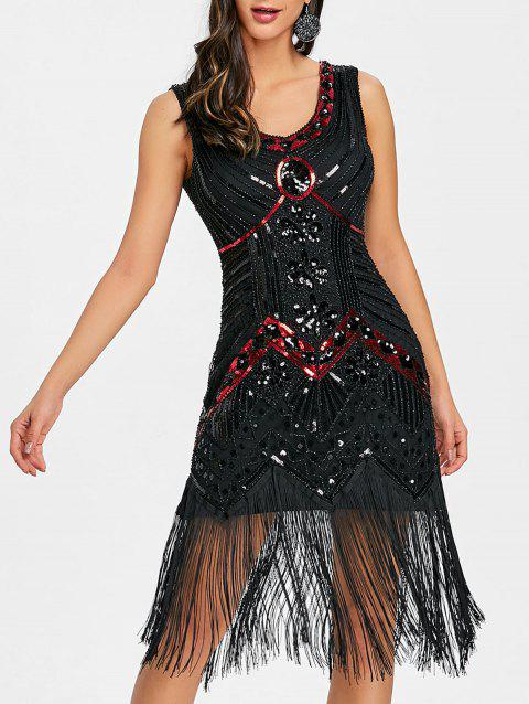 Fringe Sequined Beaded Midi Sparkle Dress - DEEP RED 2XL