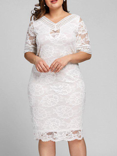 Plus Size Half Sleeve V Neck Lace Dress - WHITE XL