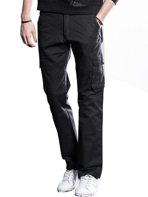 Zip Fly Straight Cut Flap Pockets Cargo Pants - BLACK 30