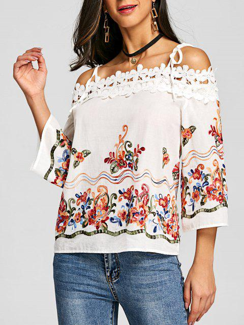 Embroidery Applique Open Shoulder Blouse - OFF WHITE M