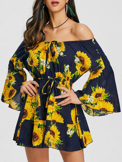 Print Off The Shoulder Swing Dress - YELLOW 2XL
