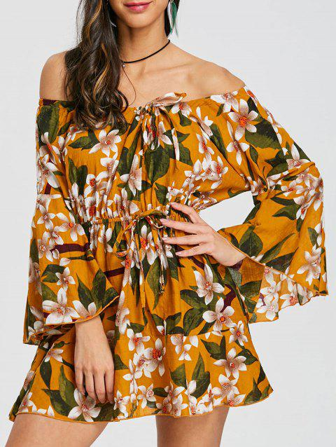 Print Off The Shoulder Swing Dress - ORANGE 2XL