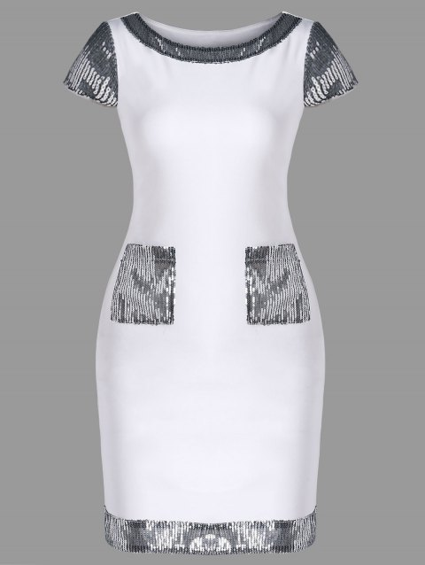 Cap Sleeve Bodycon Dress with Sequins and Pocket - WHITE 2XL