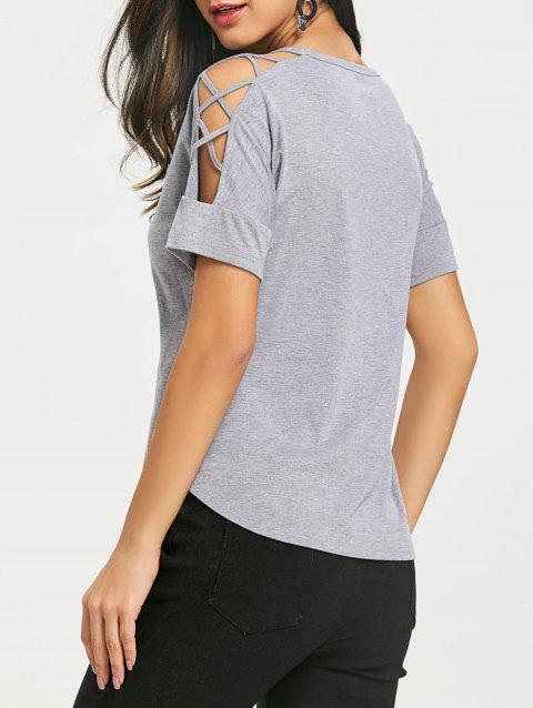 Lattice Cutting Shoulder Short Sleeve T-shirt - COLORMIX XL