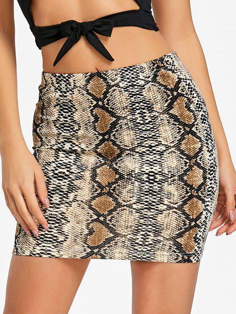 Snake Pattern Mini Bodycon Skirt - SNAKE PRINT M