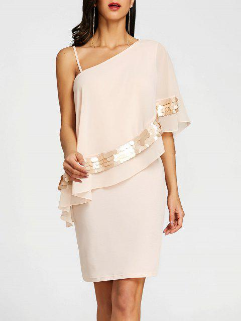 One Shoulder Overlay Mini Sheath Dress - SHALLOW PINK XL