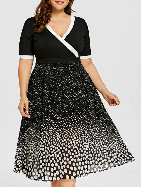 4570554039 41% OFF] 2019 Plus Size V Neck Polka Dot Dress In BLACK | DressLily