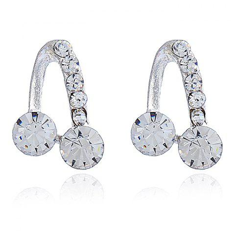 Alloy Faux Crystal Music Symbol Stud Earrings - SILVER