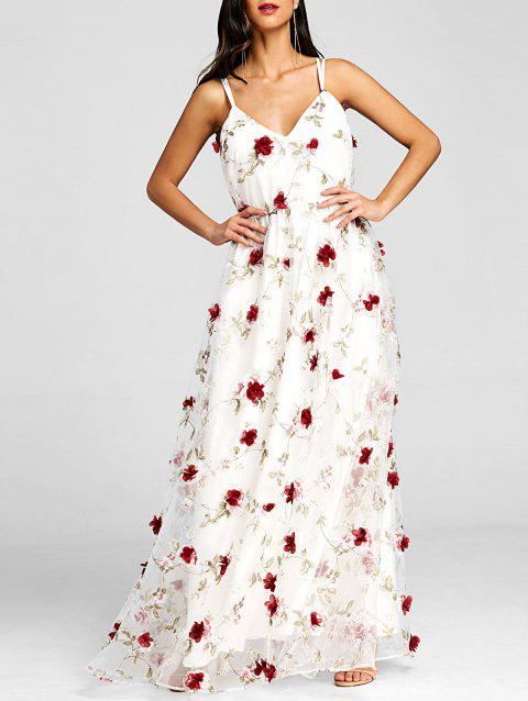 Stereo Floral Maxi Strappy Dress - WHITE M